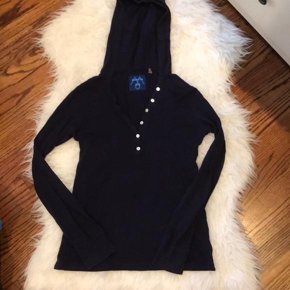 Aritzia Tops - 🌸Navy hooded long sleeve button top